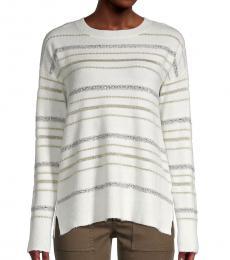 White Sequin-Striped Sweater