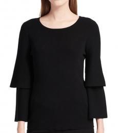Calvin Klein Black Tiered-Sleeve Crewneck Sweater