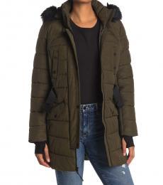 Michael Kors Olive Belted Faux Fur Hood Quilted Jacket