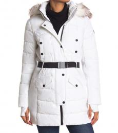 Michael Kors White Belted Faux Fur Hood Quilted Jacket