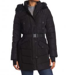 Michael Kors Black Belted Faux Fur Hood Quilted Jacket