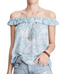 Ralph Lauren Light Blue Off Shoulder Floral Top