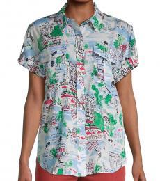 Karl Lagerfeld Green Whimsical-Print Shirt