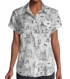Karl Lagerfeld White Parisian-Print Shirt