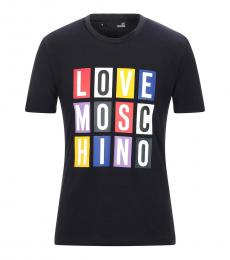 Love Moschino Navy Blue Graphic Logo T-Shirt