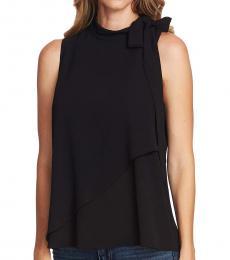 Black Tie-neck Textured Top