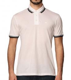 Emporio Armani White Striped Logo Polo