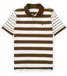 Ralph Lauren Boys White Green Striped Polo