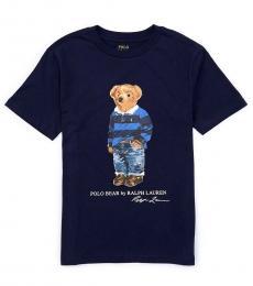 Ralph Lauren Boys Cruise Navy Bear Rugby T-Shirt