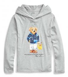 Ralph Lauren Boys Grey Beach Bear Hooded T-Shirt