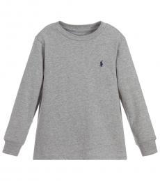 Ralph Lauren Little Boys Heather Grey Long Sleeve T-Shirt