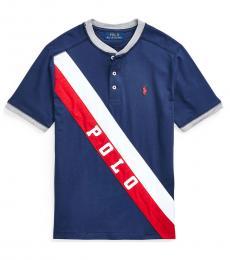 Ralph Lauren Boys Navy Banner Jersey Henley T-shirt