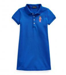 Ralph Lauren Little Girls Blue Polo Bear Polo Dress