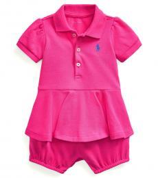 Ralph Lauren Baby Girls Accent Pink Peplum Bubble Shortall