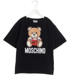 Moschino Little Girls Black Logo Toy T-Shirt