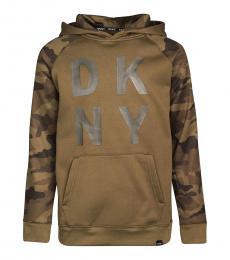 DKNY Boys Olive Camo Logo Sweatshirt