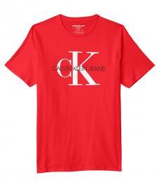 Calvin Klein Little Boys Fire Red Crewneck T-Shirt