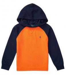 Ralph Lauren Boys Orange Waffle-Knit Hoodie