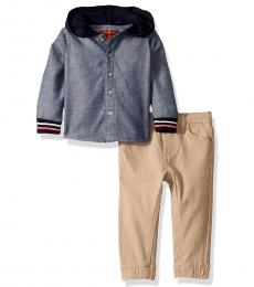 7 For All Mankind 2 Piece Hoodie/Joggers Set (Baby Boys)