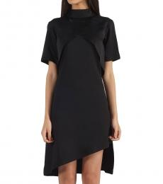 Neck Flap Black Dress