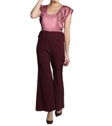 Self Stitch Maroon Frill Jumpsuit