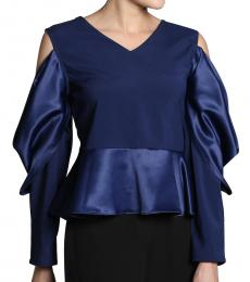 Self Stitch Cowl Sleeve Peplum Top