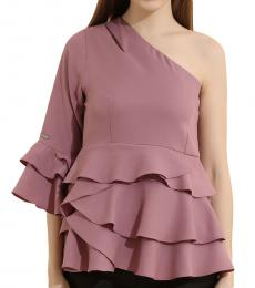 Self Stitch One Shoulder Tiered Peplum Top