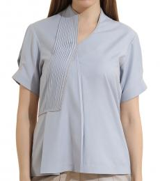 Self Stitch Powder Blue Pin Tucks Top