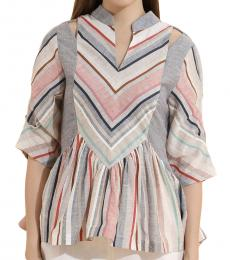 Self Stitch Striped Bamboo Sleeve Top