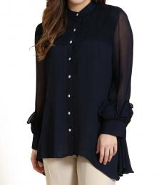 Self Stitch Navy Smocked Detail Shirt