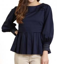Navy Pintucks Peplum Top