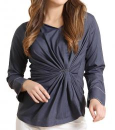 Self Stitch Navy Twist Buckle Top