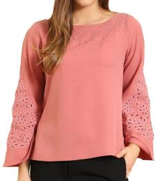 Self Stitch Cutwork Bell Sleeve Top
