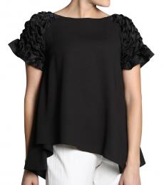 Black Smocked Shoulder Top