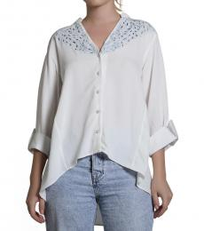 Self Stitch High-Low Embroidered Shirt