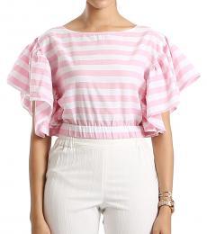 Self Stitch Candy Pink Striped Crop Top