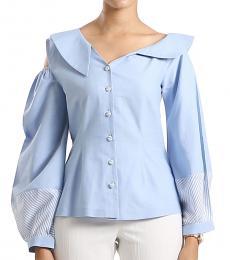 Self Stitch Asymmetric Neckline Shirt